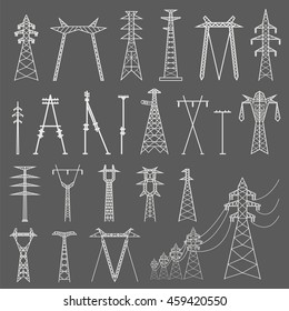 High voltage electric line pylon. Icon set suitable for creating infographics. web site content etc. Vector illustration