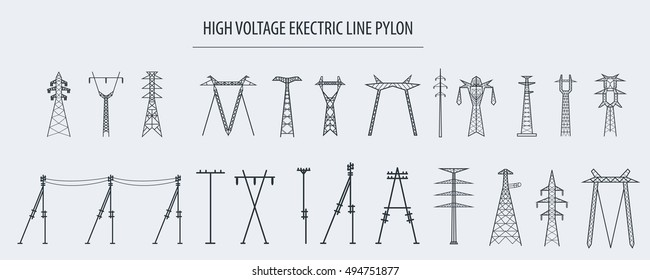 High voltage electric line pylon, pole network. Isolated icon set suitable for creating infographics. web site content etc. Vector illustration