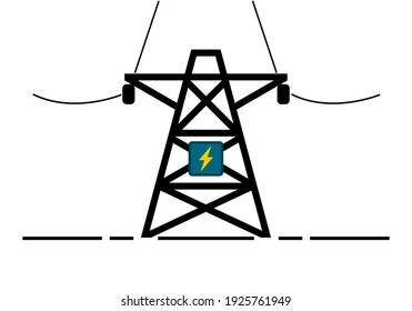 High voltage electric pole icon line stroke flat vector
