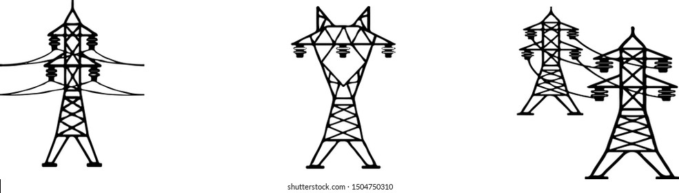 High voltage electric post icon set on white background