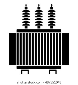 high voltage electrical transformer black symbol vector