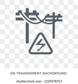 High voltage icon. Trendy flat vector High voltage icon on transparent background from Construction collection.