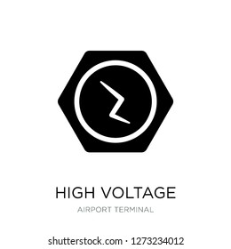 high voltage icon vector on white background, high voltage trendy filled icons from Airport terminal collection, high voltage simple element illustration