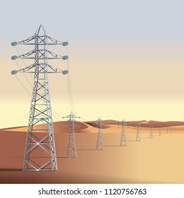 High voltage power line tower. Desert. Mongolia.