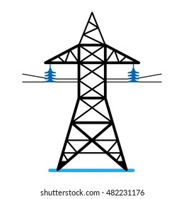 High voltage power line transmission tower. Electricity pylon icon isolated.