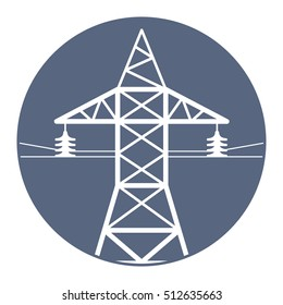 High voltage power line transmission tower icon.