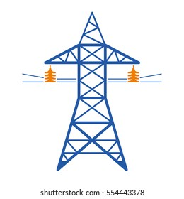 High voltage power line transmission tower. Electricity pylon vector icon isolated.