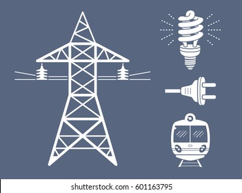 High voltage power line transmission tower or pylon, energy saving light bulb or lamp, AC plug, subway or EMU train. Electricity icons set.