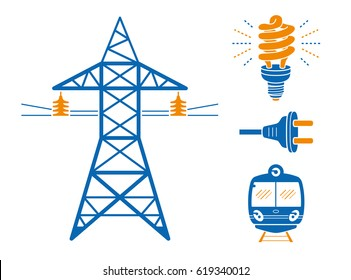 High voltage power line transmission tower or pylon, energy saving light bulb or lamp, AC plug, subway or EMU train. Electricity icons set isolated.