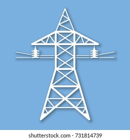 High voltage power line transmission tower or electricity pylon icon