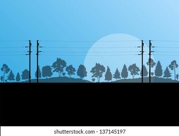 High voltage power line vector background