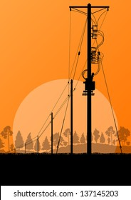 High voltage power line vector background