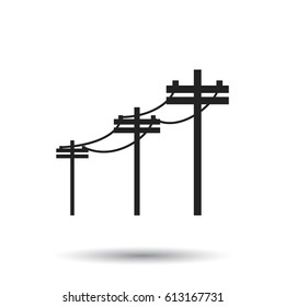 High voltage power lines. Electric pole vector icon on white background.