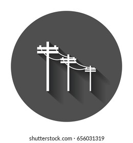High voltage power lines. Electric pole vector icon with long shadow.
