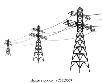 High voltage power lines. Electricity pylon silhouette.