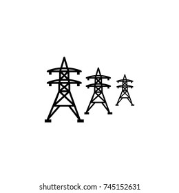 High voltage power lines icon on white background