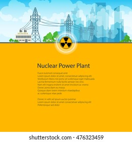 High Voltage Power Lines Supplies Electricity to the City, Poster Brochure Flyer Design, Text on Yellow Background,Radiation Sign, Vector Illustration
