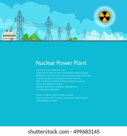 High Voltage Power Lines Supplies Electricity to the City,Electric Power Transmission, Poster Brochure Flyer Design, Text on Blue Background,Radiation Sign, Vector Illustration
