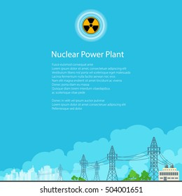 High Voltage Power Lines Supplies Electricity to the City,Poster Brochure Flyer Design, Radiation Sign, Vector Illustration