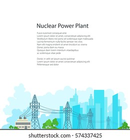 High Voltage Power Lines Supplies Electricity to the City, Electric Power Transmission on White Background and Text, Poster Brochure Flyer Design, Vector Illustration