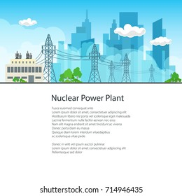 High Voltage Power Lines Supplies Electricity to the City and Text , Poster Brochure Flyer Design, Vector Illustration