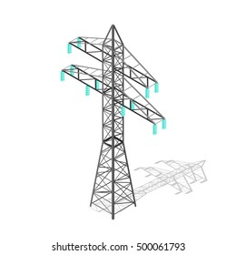 High Voltage Power Pylon. Transmission Tower. Vector illustration of Powers transmissions  icon tower in isometric style. Electricity  Tower steel Powerline Generator