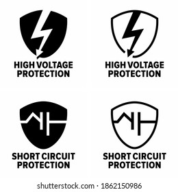 """""""High voltage protection"""" and """"Short circuit protection"""" power system device information sign"""