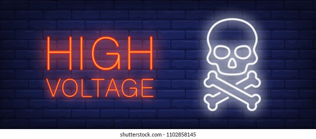 High voltage red and white neon style lettering. Death sign on brick background. Skull and crossbones. Bright wall sign. Can be used for warning sign, banner, web design