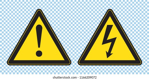 High voltage sign and danger sign, danger triangle symbol, warning sign