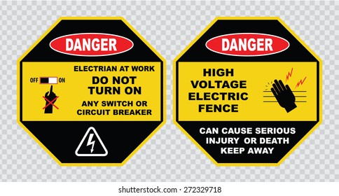 high voltage sign or electrical safety sign (electrian at work, do not  turn on any switch or circuit breaker, high voltage electric fence)