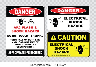 high voltage sign or electrical safety sign (arc flash shock hazard, do not touch terminal, on both line and load side may be energized in the open position)