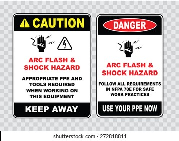 high voltage sign or electrical safety sign (arc flash shock hazard appropriate ppe and tools required when working on this equipment, follow all requirements safe work).
