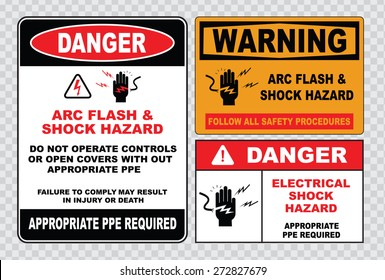 high voltage sign or electrical safety sign (arc flash shock hazard follow all safety procedures, do not operate controls without appropriate ppe)