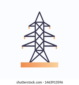 high voltage tower electric pillar icon electrical energy concept flat white background