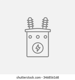 High voltage transformer line icon for web, mobile and infographics. Vector dark grey icon isolated on light grey background.