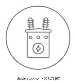 High voltage transformer line icon.