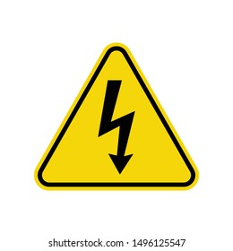 High Voltage Warning Sign Isolated On White Background. Electrocution Hazard Symbol Simple, Flat, Vector, Icon You Can Use Your Website Design, Mobile App Or Industrial Design. Vector Illustration