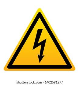 High voltage warning triangular yellow sign. High voltage symbol isolated on white background. Vector illustration.