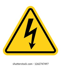 High voltage warning yellow sign vector icon isolated on white background.