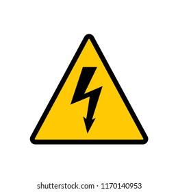 High voltage yellow triangle sign. High voltage hazard warning vector sign.