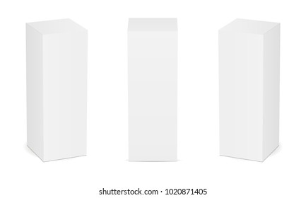 High white cardboard box mock up. Set of cosmetic or medical packaging. Vector illustration