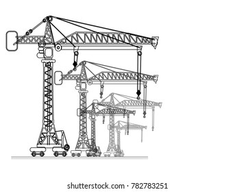 high-altitude crane port isolated on background