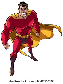 High-angle full length illustration of a powerful and determined man wearing superhero costume during courageous intervention against white background for copy space