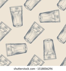 Highball glass seamless pattern. Collin glass backdrop. Engraving style. Design for menu, wrapping paper. Vector illustration