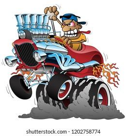 Highboy Hot Rod Dragster Race Car Cartoon Vector Illustration