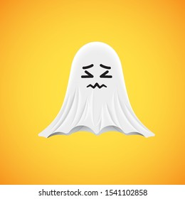 High-detailed cute ghost emoticon, vector illustration