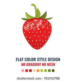 High-detailed Red organic strawberry with solid and flat color style design vector.