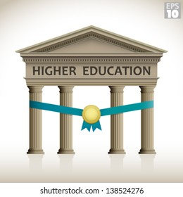 Higher education roman building inauguration or scholarship includes columns, ribbon and medal