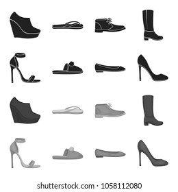 High-heeled sandals, homemade lilac slippers with a pompon, pink women ballet flats, brown high-heeled shoes. Shoes set collection icons in black, monochrome style vector symbol stock illustration