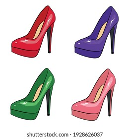 High-heeled shoes for clothes design. Female symbol. Sale concept.